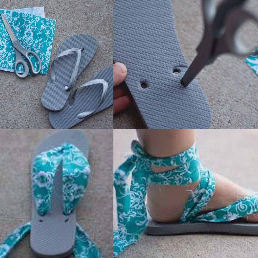 "Photo of Callihaul on Instagram: ""#Upcycled sandals #DIY style!! Next time your flip flops break, you don't need to throw them away… Take a piece of cloth, poke some new…"""