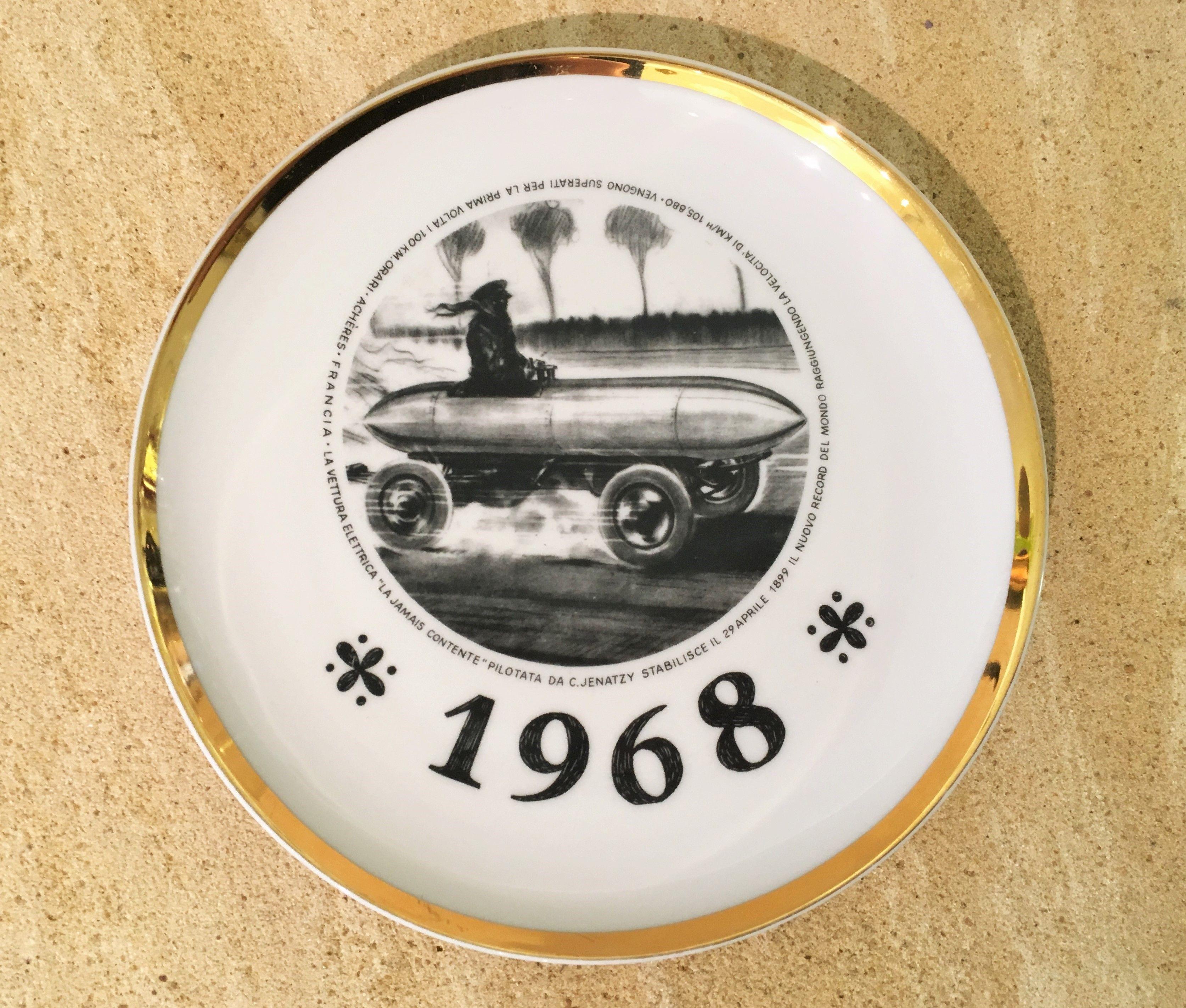 FORNASETTI Piero, Teller, Plate,  limited Edition per il Salone Internationale dell´automobile di torino