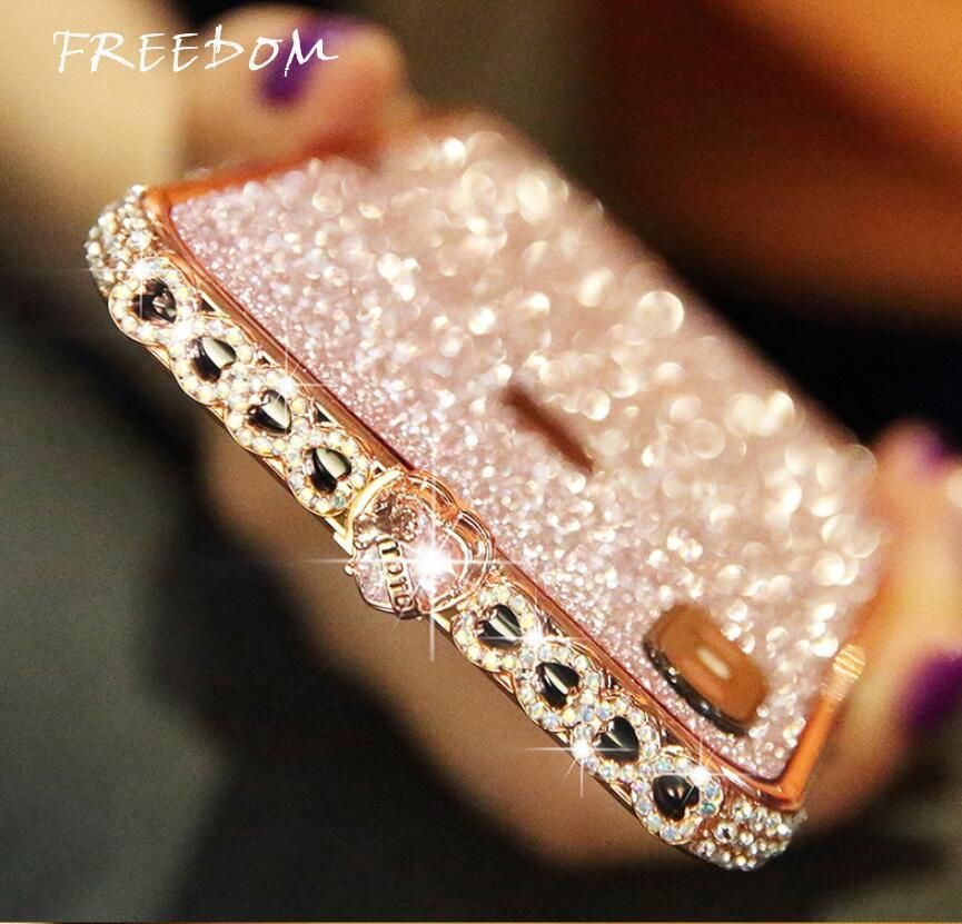 Freedom bling heartshaped crystal iphone case with grade