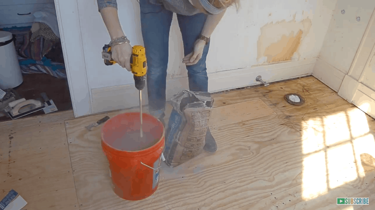 How To Prep And Tile A Floor Diy Bathroom Makeover Flooring Prepping