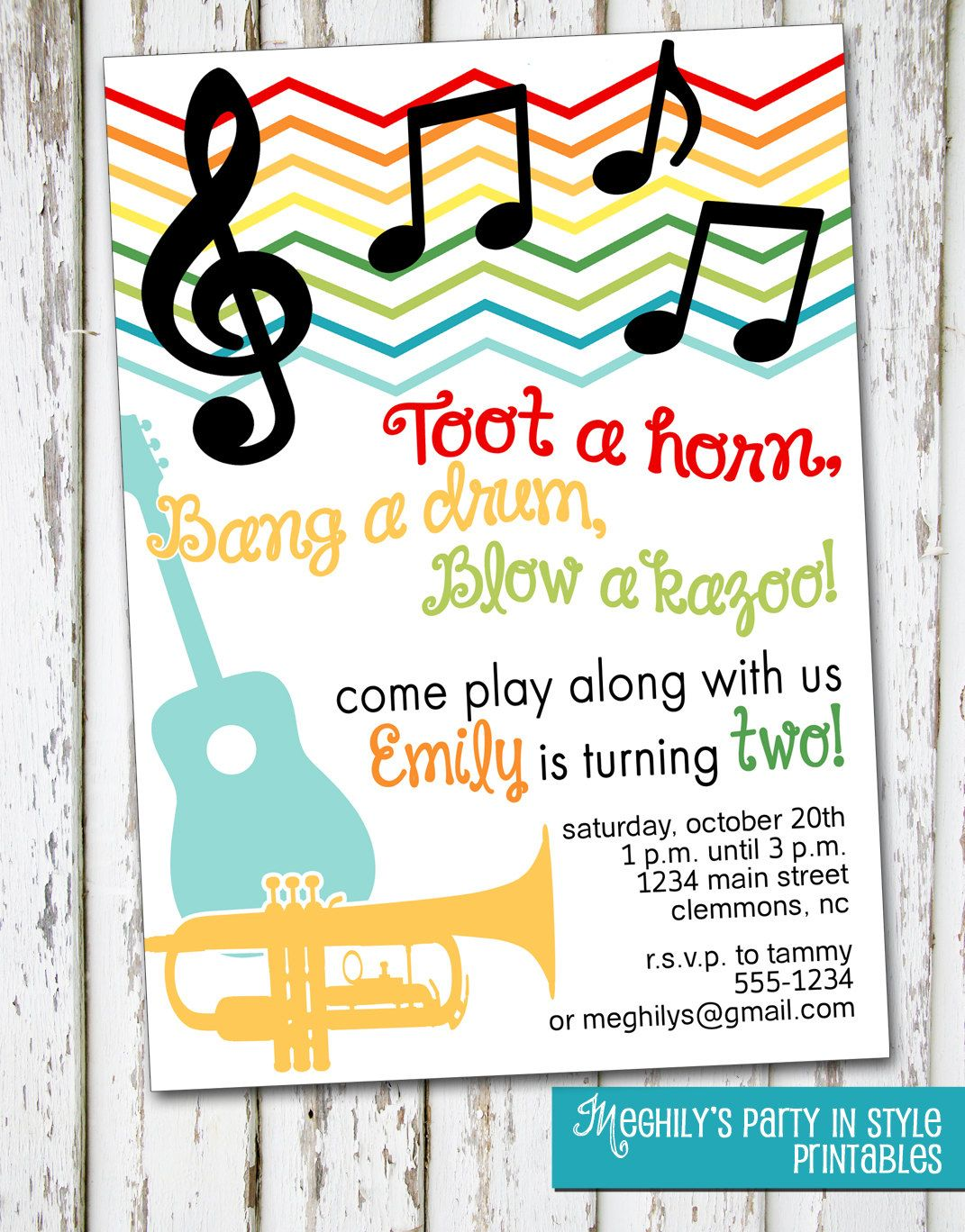 Music Musical Instruments Invitation by Meghilys on Etsy, $8.00 ...