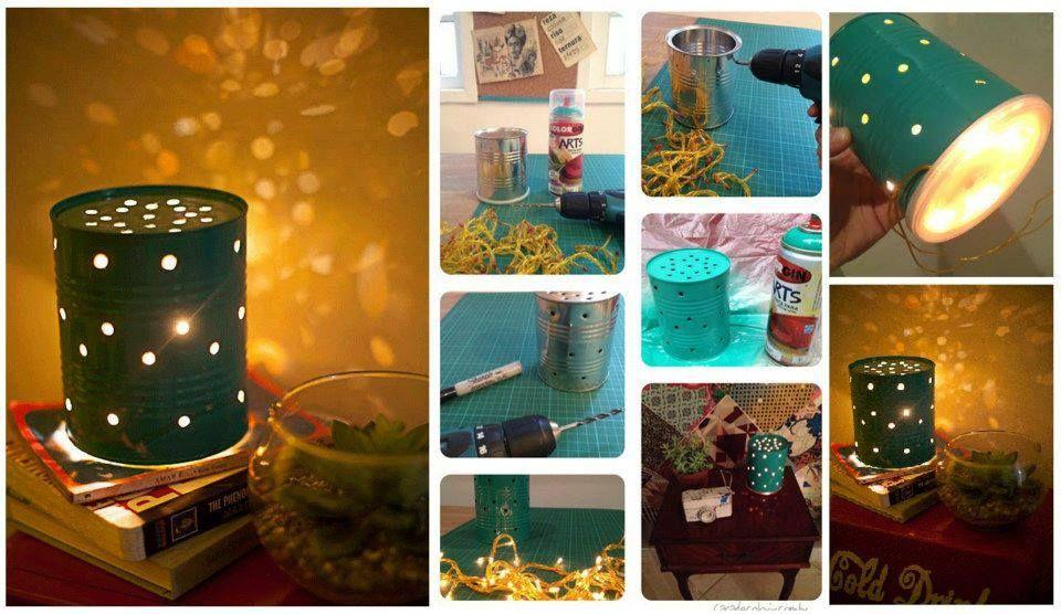 Lámparas de sobremesa con latas de conserva