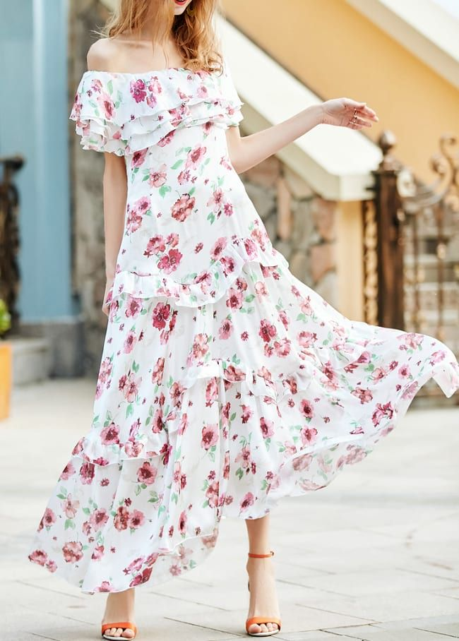20eeb67b9a White Off-Shoulder Ruffle Floral Print Maxi Dress | Women's Trending ...