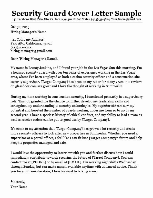 Security Guard Cover Letter Sample Pdf