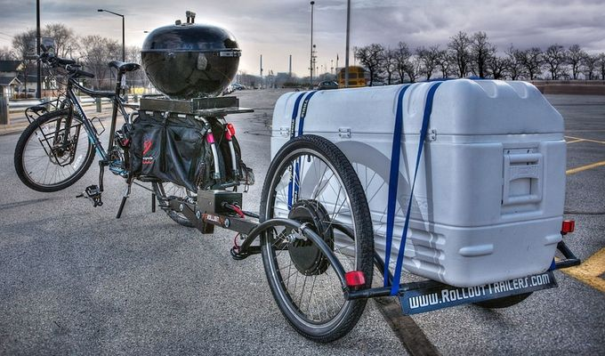 The Patented Brouhaha Bike Trailer Is An Electric Assist Cargo Trailer That Can Be Loaded Up Without Adding Any Effo Bike Trailer Bicycle Trailer Electric Bike