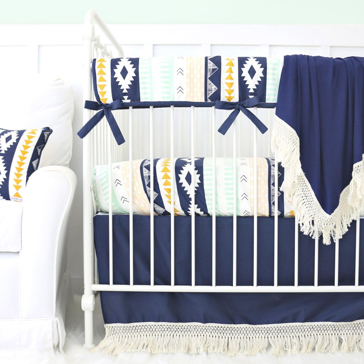 Aztec Gold Amp Mint Boho Fringe Bumperless Crib Bedding