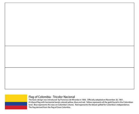 Colombia Flag Coloring Page From South American Flags Category Select From 26388 Printable Crafts Of Cartoons Flag Coloring Pages Colombia Flag Coloring Pages