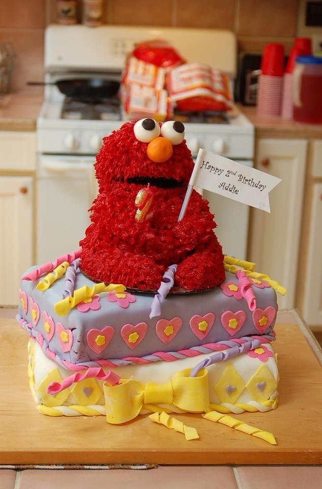 Needed a 3D Elmo cake so used a Wilton Teddy Bear pan carved
