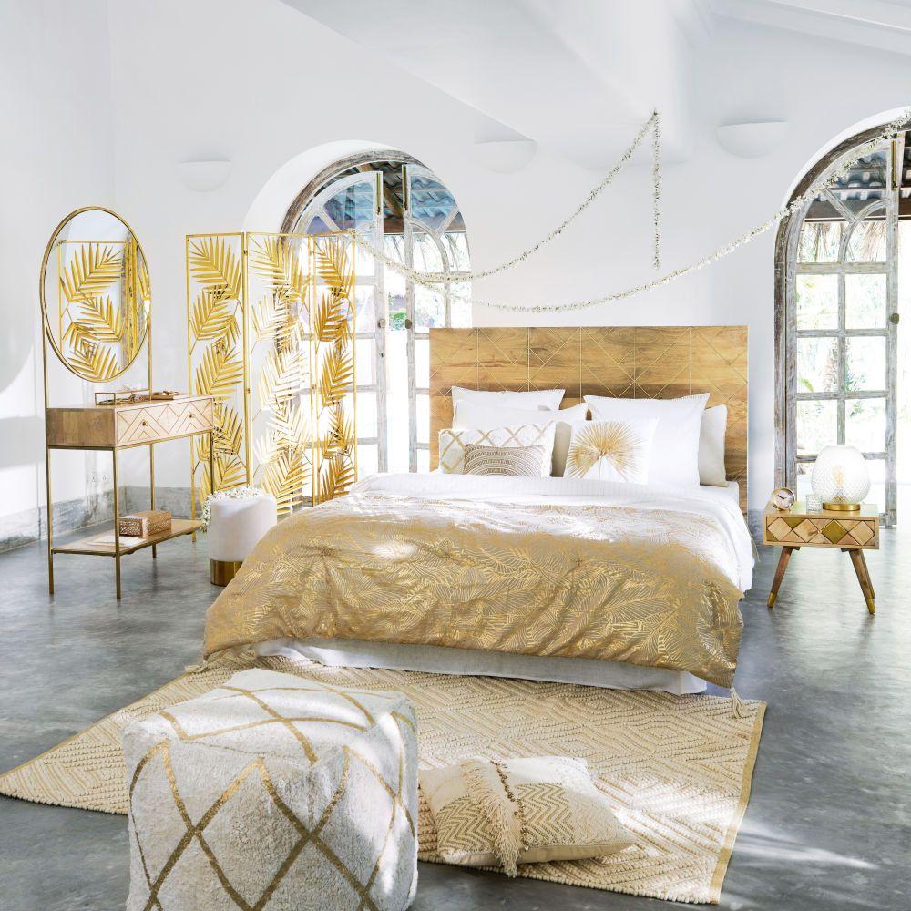Puf de algodón blanco con motivos gráficos dorados  Maisons du