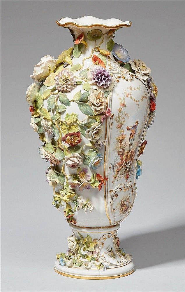 A Meissen Porcelain Flower Encrusted Vase Flower Encrusted