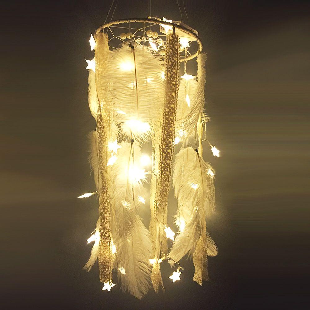 Büyük 25*105 CM LED yıldız ışığı beyaz Tüy inci ile dream Catcher ...