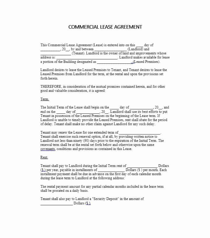 Free printable commercial lease agreement beautiful 26