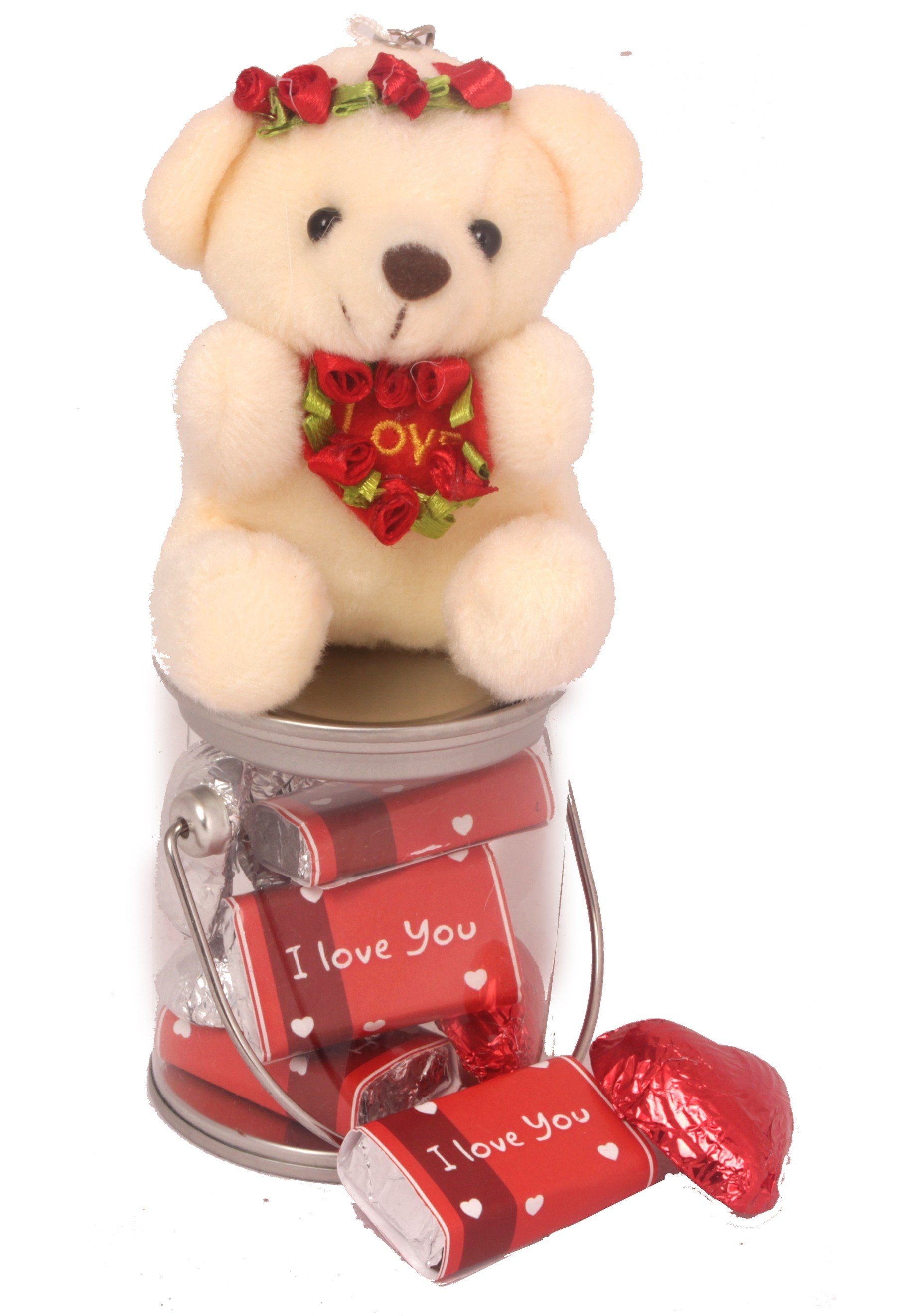 Love bucket with teddy and chocolates saying i love you
