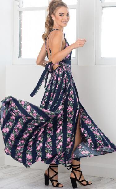 7992af89da Dark Blue Floral Print Irregular Tie Back Maxi Dress. Floral Slit Open Back  Maxi Dress