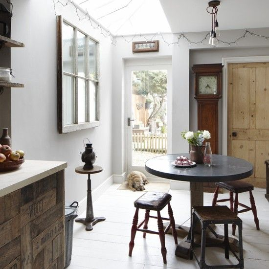 Modern Rustic Kitchen Of Three Bedroom Victorian Terraced House In Hertfordshire UK