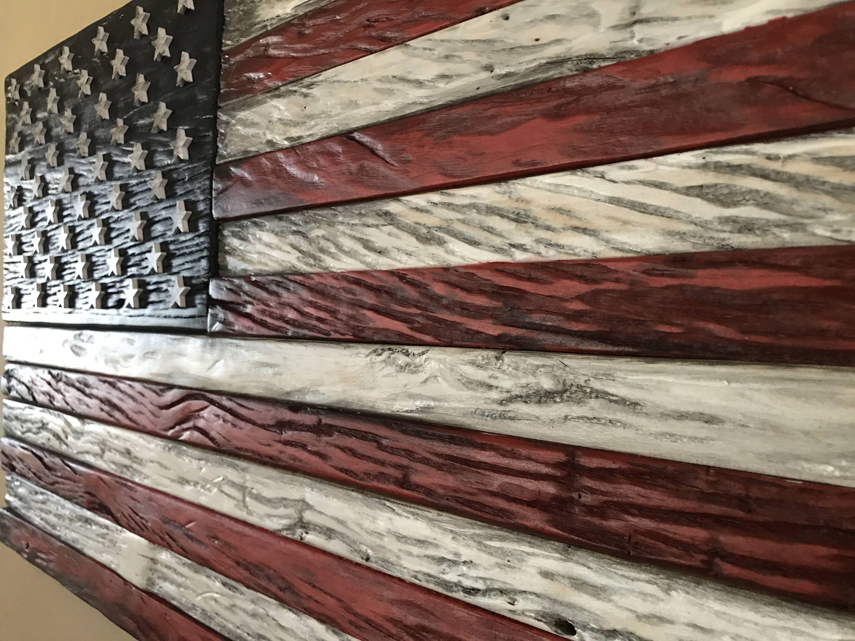 Wood Flag Barn Rustic Wooden