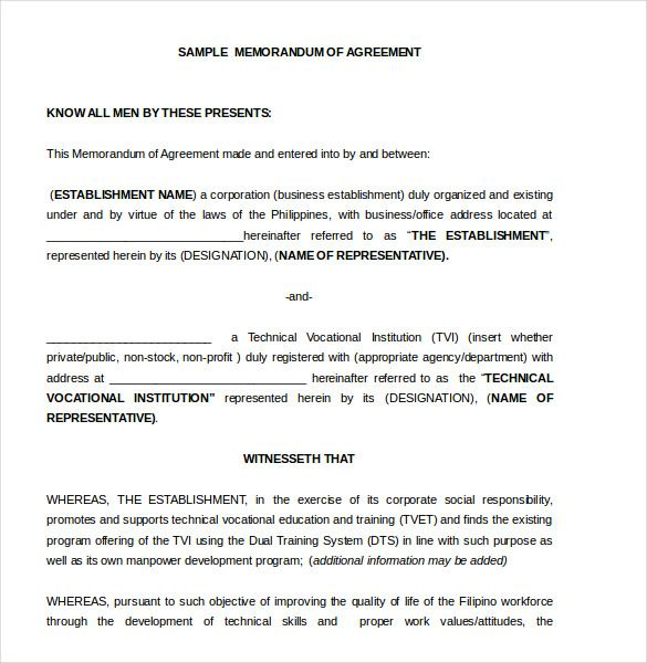 Memorandum of Agreement Template u2013 10+ Free Word, PDF Document - business agreement form