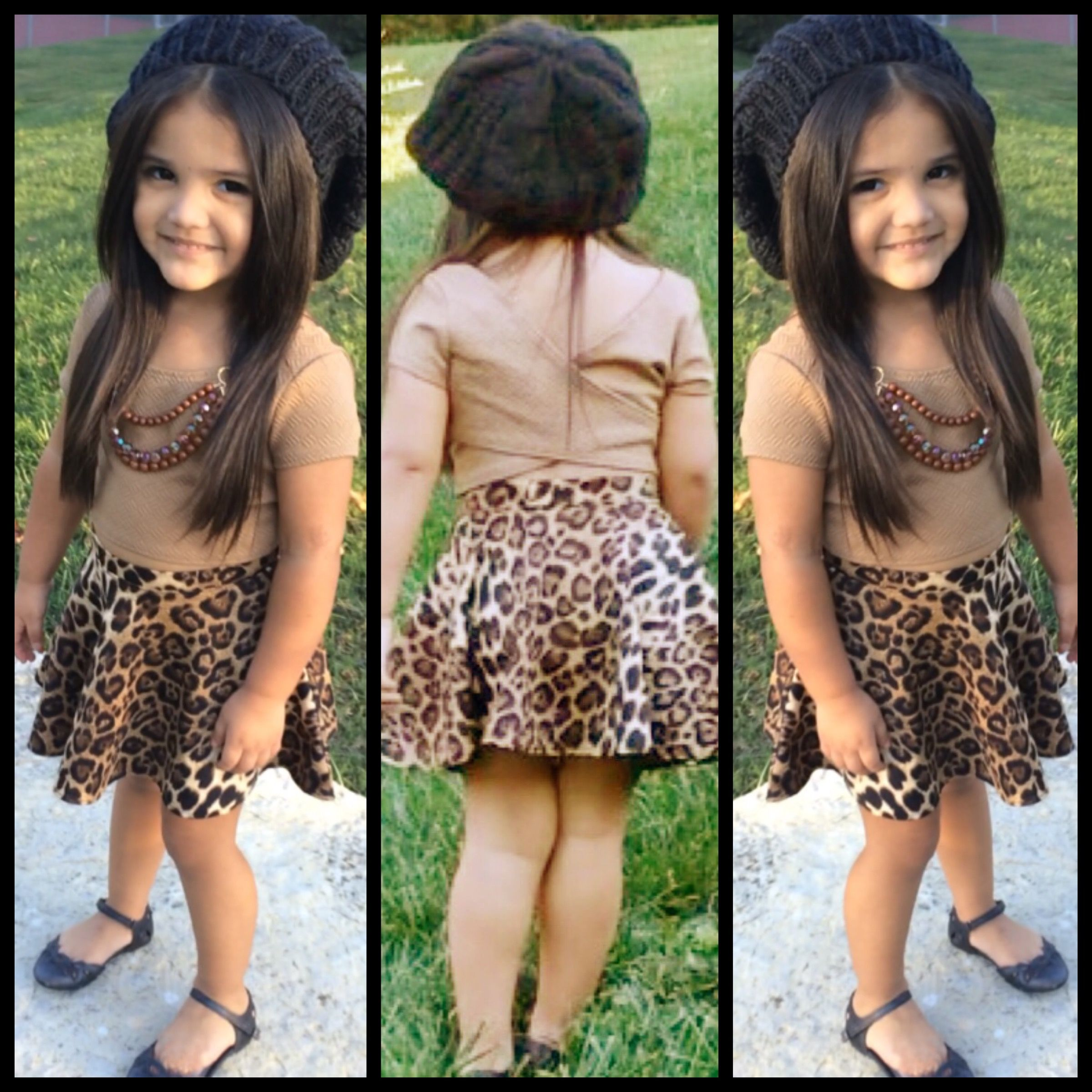 Animal Print Skater Skirt Kids trendy clothing
