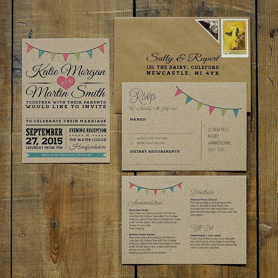 Vintage Bunting Kraft Wedding Invitation Buntings Wedding and Vintage