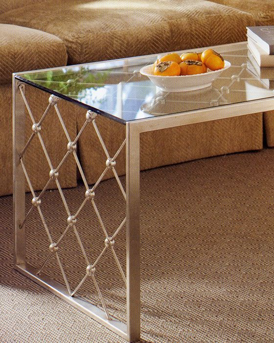 Antique Silver Glass Coffee Table: Rectangular Hand-wrought Iron Table With Antique Silver