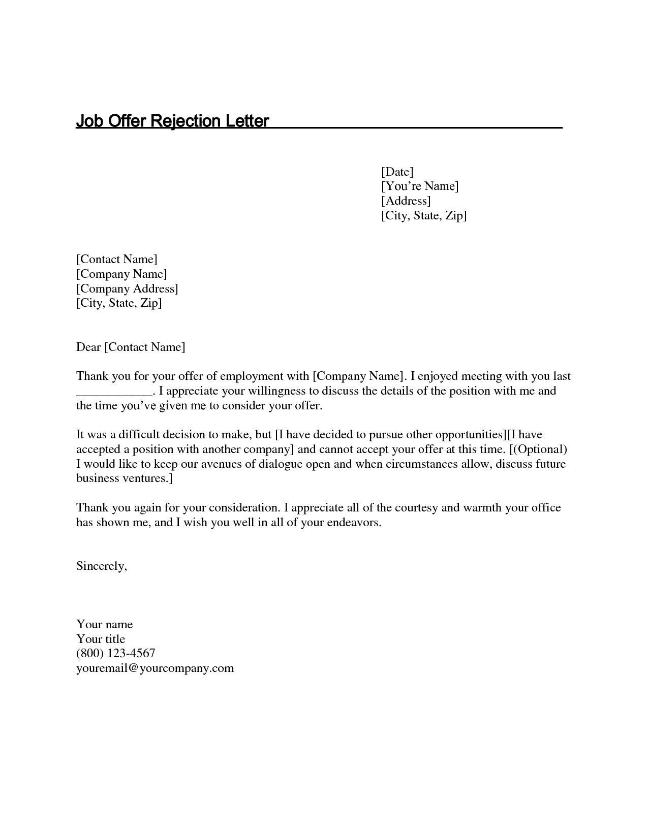 Download Fresh Job Decline Thank You Letter lettersample