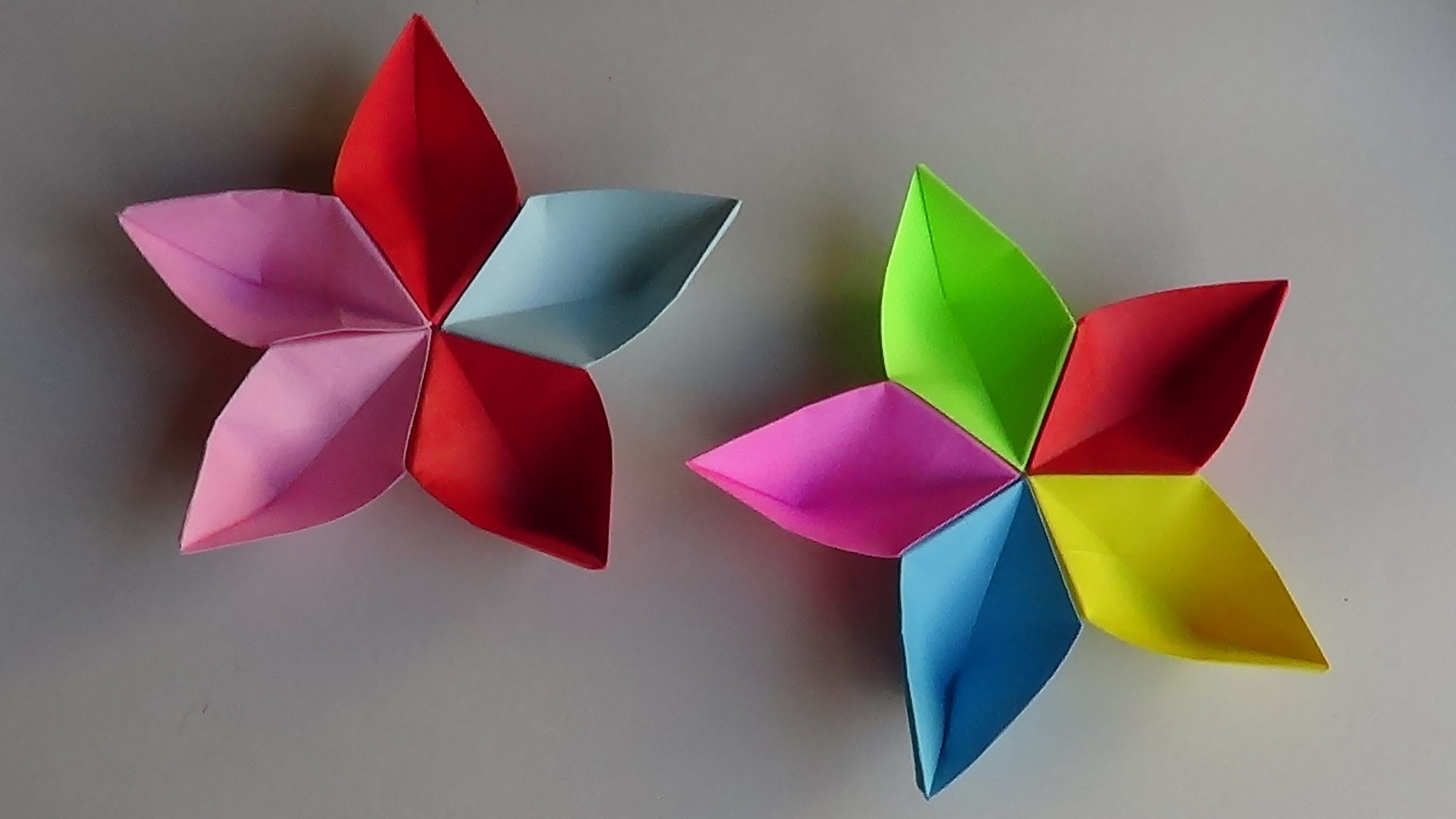 Simple origami Sakura flower - How to make simple origami ... - photo#12