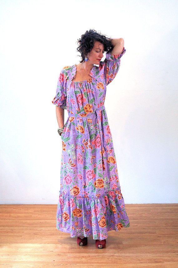 2ad80733334467 Glorinda, 80s Hawaiian Dress M L, Birds Butterfly Print Maxi, Purple Batik  Dress, Vintage Aloha Dress, Lavender Cotton Floral Maxi Dress