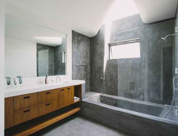Unique Bathtub And Shower Combo Designs For Modern Homes Modern Bathroom Concrete Bathtub Bath Shower Combination