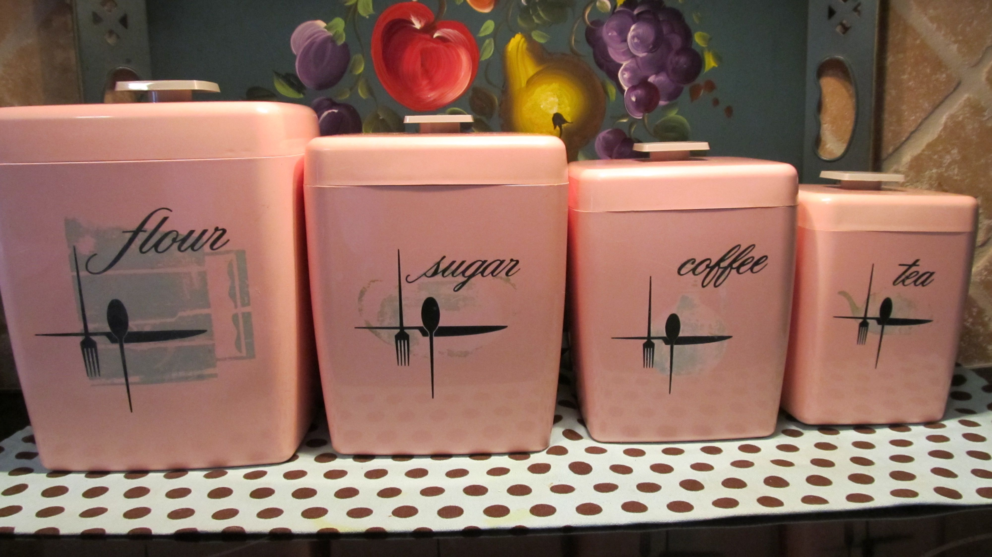 Vintage pink kitchen canisters