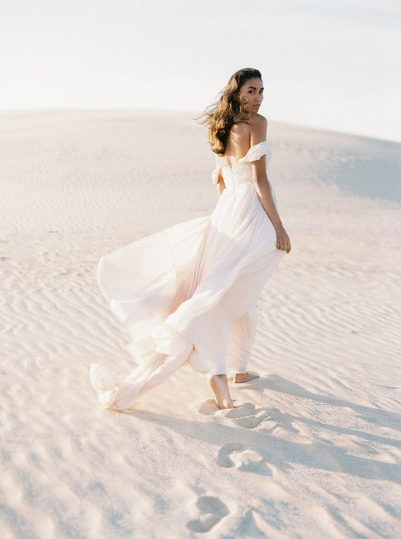 Blush Wedding Gown In The Sand Dunes Wedding Sparrow Perry