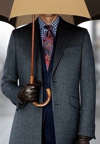 Men's Charcoal Overcoat, Navy Vertical Striped Suit, White and Navy Gingham Dress Shirt, Red Paisley Tie