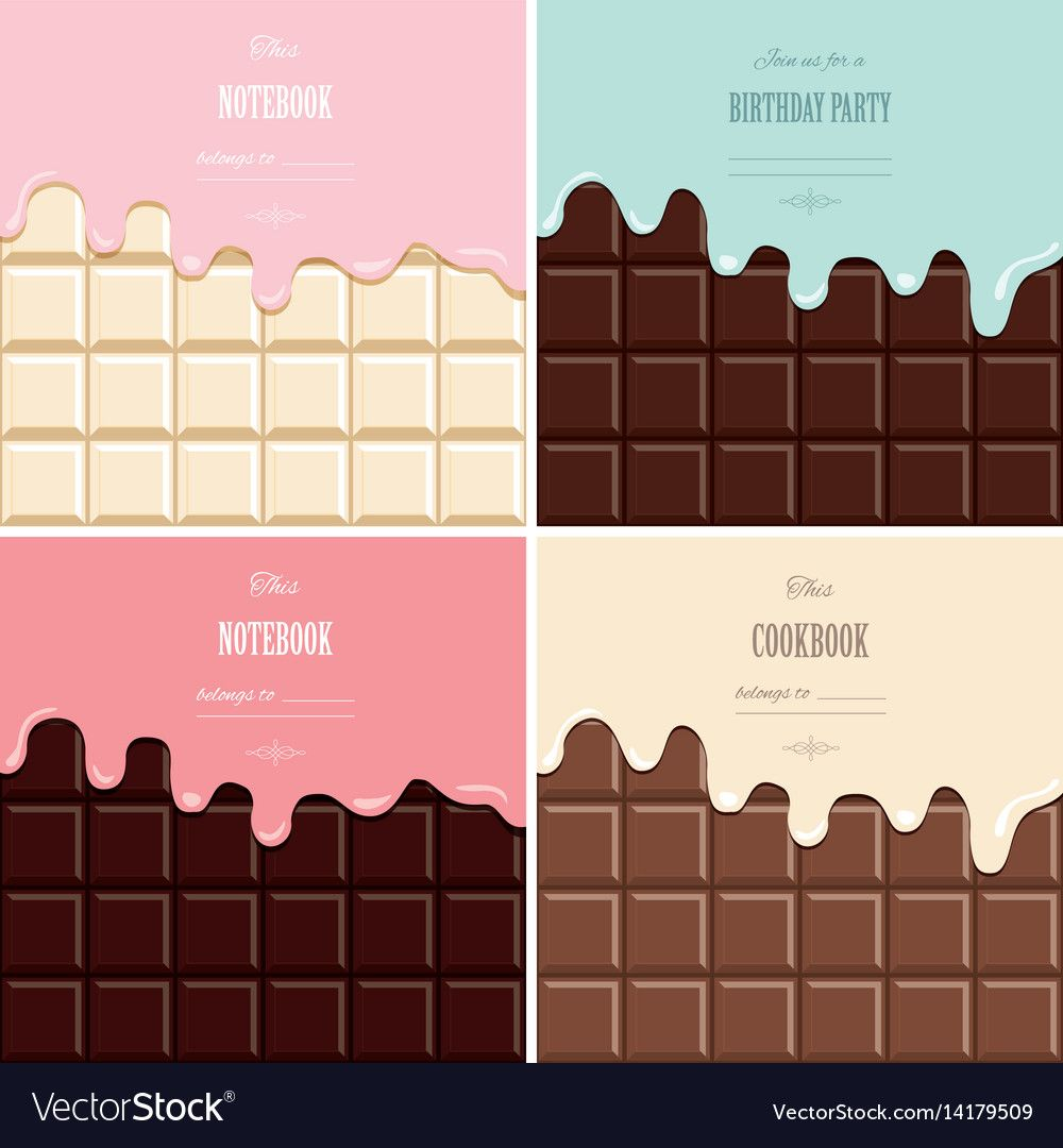 Cream Melted On Chocolate Bar Background Set Cute Vector Image On
