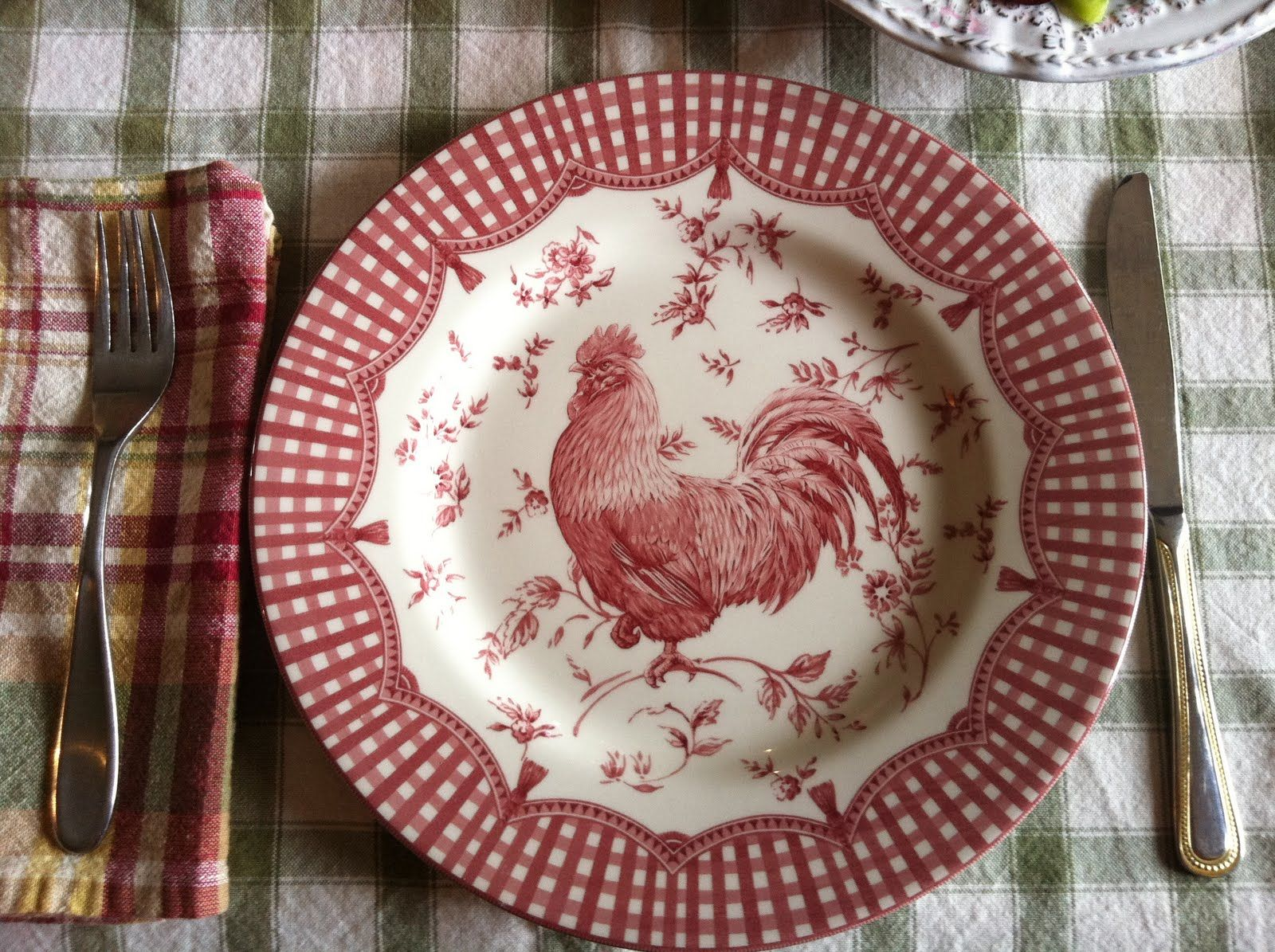 The Cozy Little Kitchen Family Farmhouse Breakfast I have this red rooster plate : country decorative plates - pezcame.com
