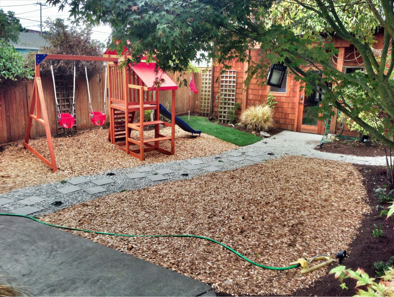 Image result for landscaping with wood chips summertime