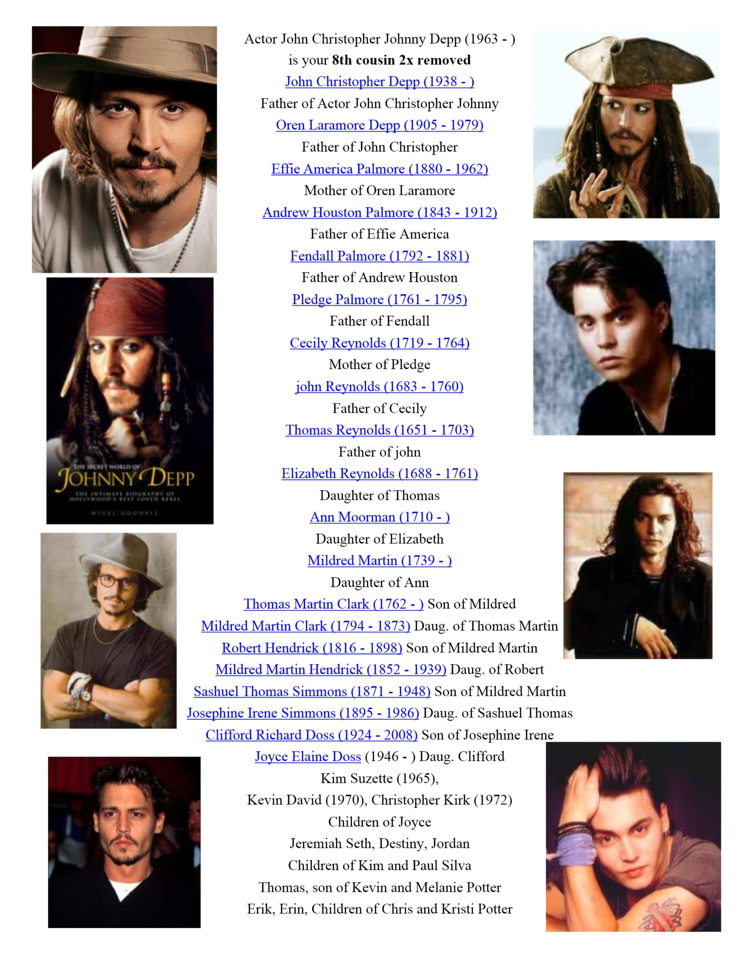 1963 Actor Johnny Depp 8th cousin