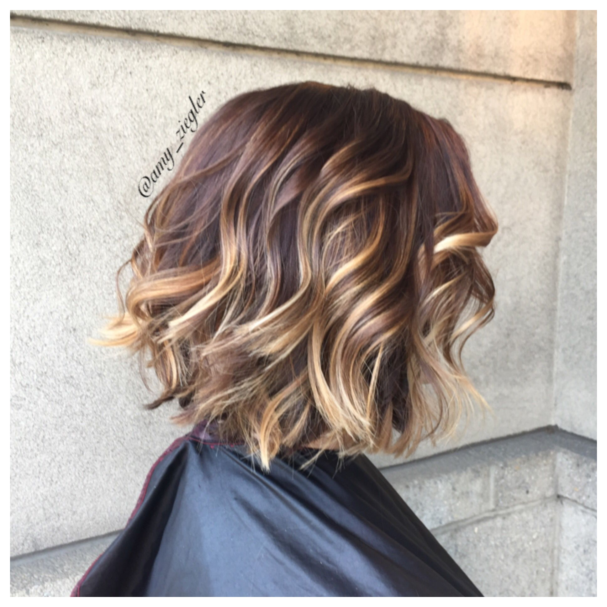 Redken brunette balayage and a textured bob by @askforamy