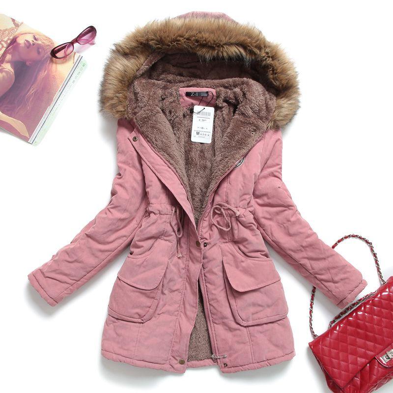 Nuevo invierno mujer chaqueta medio largo espesar más tamaño