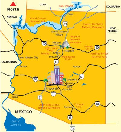Map Of Yuma Arizona And Surrounding Area.Az Map Of Scenic Destinations Places To Visit In Arizona In 2019
