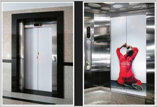 Creative Advertising ideas Uses of elevator doors Stickers Seen On .coolpicturegallery.us & Creative Advertising ideas Uses of elevator doors Stickers Seen On ...