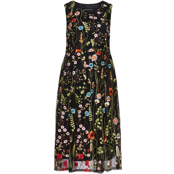 Manon Baptiste Black / Multicolour Plus Size Floral embroidery lace... ($260) ❤ liked on Polyvore featuring dresses, black, plus size, sleeveless lace dress, midi skater skirt, flared midi skirt, women's plus size dresses and plus size midi dresses