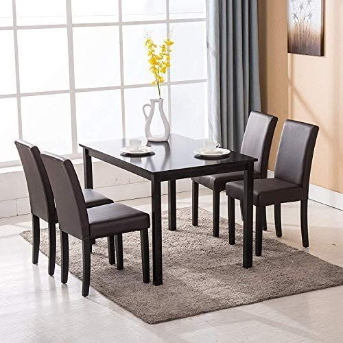 best seller mecor 5 piece dining table set wood table4