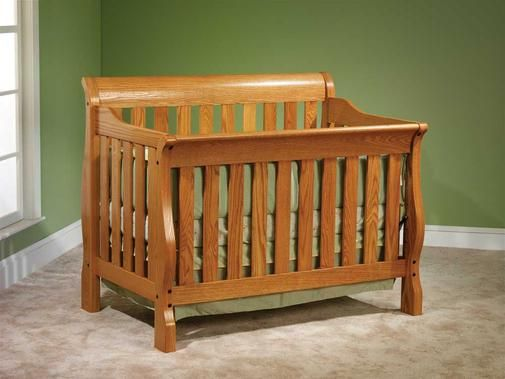 Cottage Sleigh Amish Baby Crib Bed Amish Furniture Solid Wood