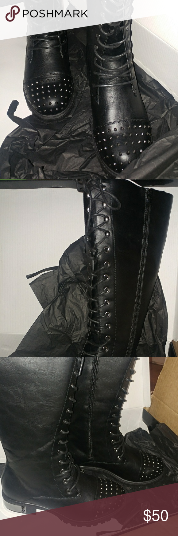 Torrid knee high boots. New in box Torrid brand. Studded toe, black, knee high boots. Lace up or zip up. Sz 10 wide. New in box. torrid Shoes Lace Up Boots