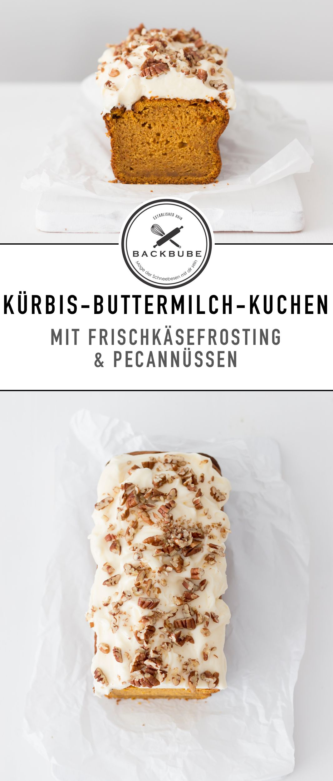 Kürbis-Buttermilchkuchen mit Frischkäsefrosting und Pecannüssen / pumpkin buttermilk cake with cream cheese frosting and pecans / www.backbube.com - Foodblog (Bake Cheesecake Recipe) #creamcheeserecipes