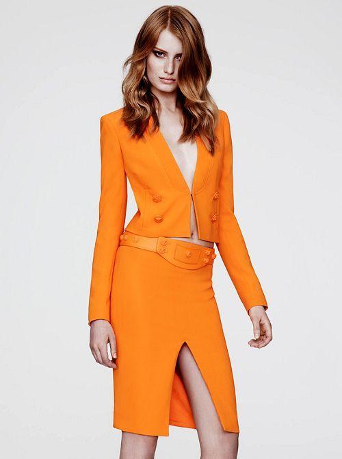 Mandarin meetings. #Jacket #Skirt #Business #Bold #Colorful #Buttons #Hair
