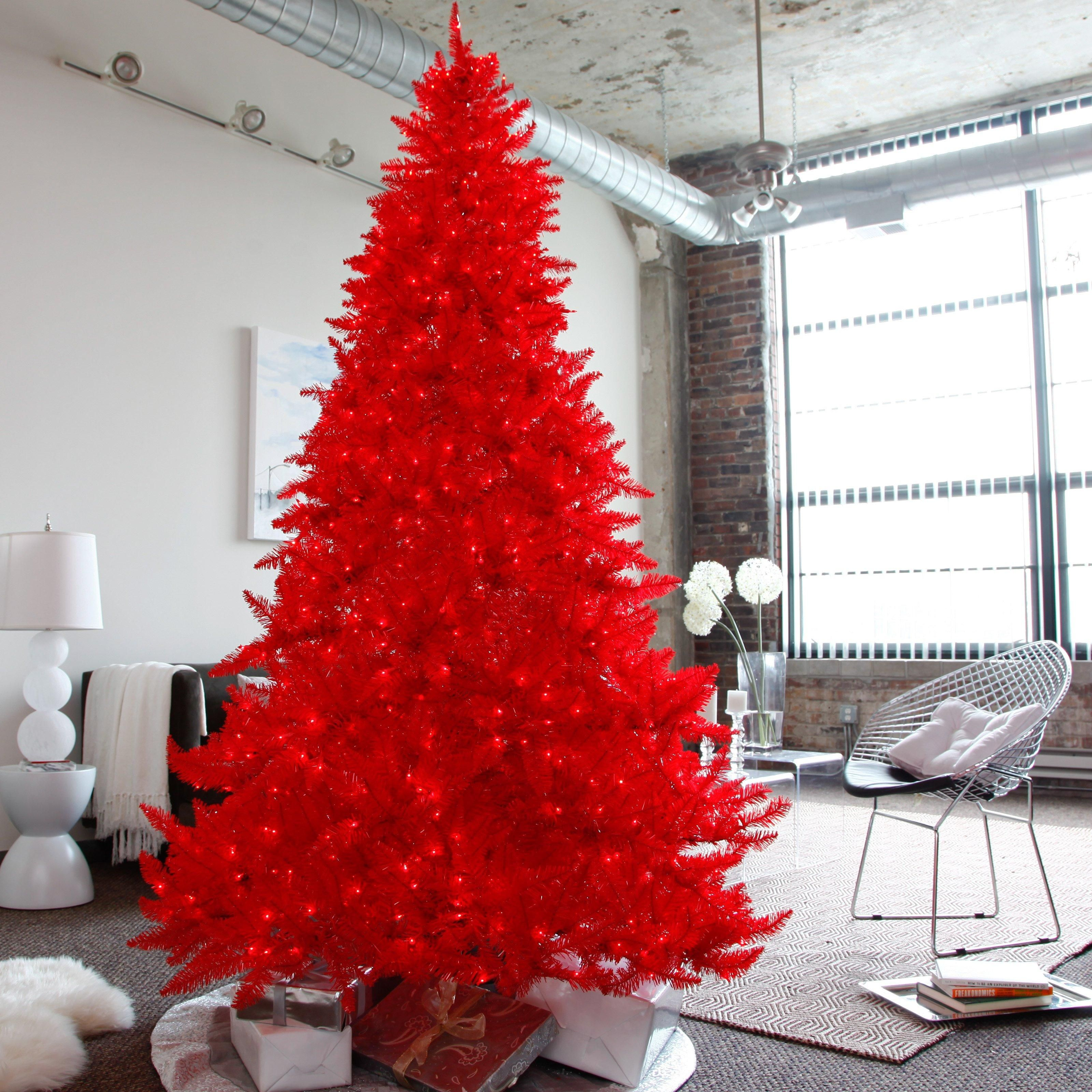 Ashley Red Pre Lit Christmas Tree Www Hayneedle Com Red Christmas Tree Red Christmas Decor Pre Lit Christmas Tree
