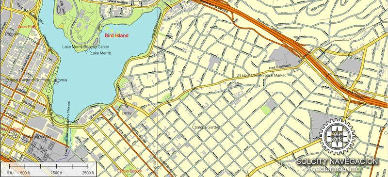 Vector map of San Francisco Bay Printable and editable
