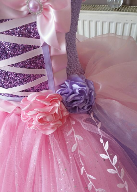 Pink fairytale luxury glitter tutu dress rose wedding party princess flowergirl