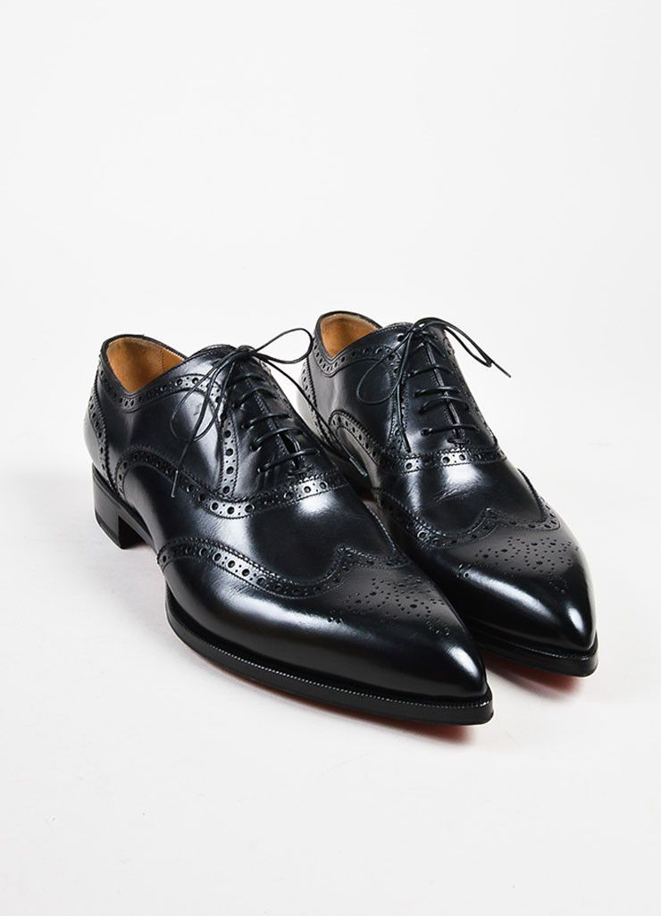 c8f0387144b Men s Christian Louboutin Black Longwing Brogue