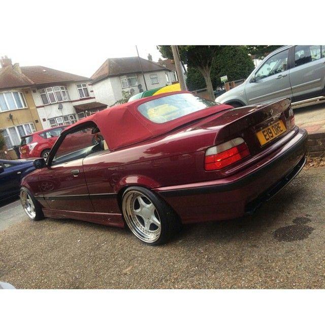 Calypsorot BMW e36 cabrio on super rare 3 piece Eclair wheels
